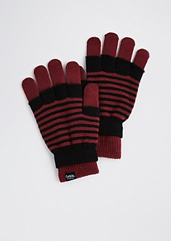 Black Striped Layered Gloves