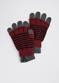 Burgundy Striped Layered Gloves