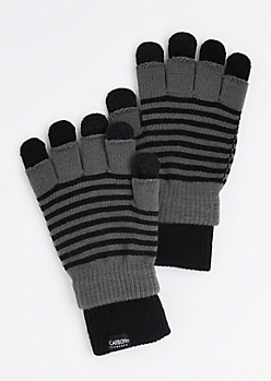 2-Pack Gray Striped Texting Gloves