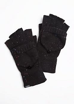 Black Speckled Convertible Gloves