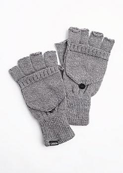 Gray Marled Convertible Gloves