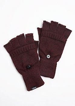 Burgundy Marled Convertible Gloves