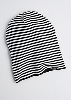 Black Reversible Striped Beanie