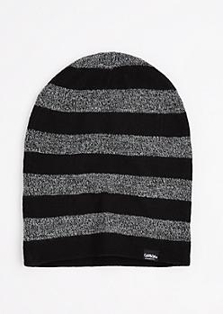 Black Marled Block Striped Reversible Beanie