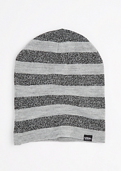 Gray Marled Block Striped Reversible Beanie