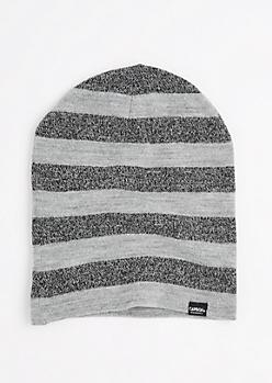 Gray Marled Block Striped Reversible Beanie