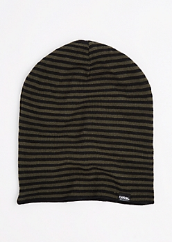 Black & Olive Striped Reversible Beanie