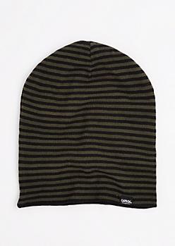 Black & Olive Striped Reversible Beanie