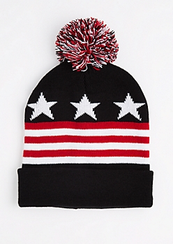 Stars & Stripes Pom Cuffed Beanie
