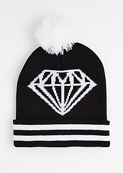 Gemstone & Stripes Pom Cuffed Beanie