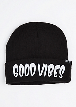 Good Vibes & Hella Cold Cuffed Beanie
