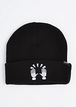 Celebratory Hands Emoji Cuffed Beanie