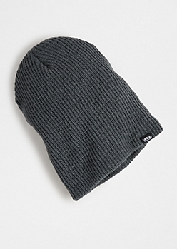 Charcoal Ribbed Knit Beanie