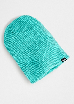 Turquoise Ribbed Knit Beanie