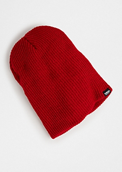 Red Ribbed Knit Beanie