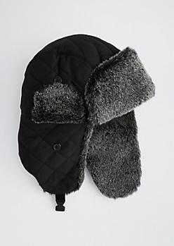 Black Faux Fur Trapper Hat