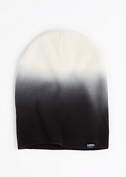 White & Black Dip Dye Beanie