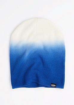 Blue & White Dip Dye Beanie
