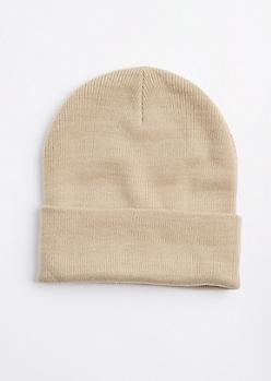 Sand Folded Beanie