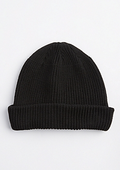 Black Knit Rolled Beanie