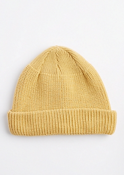 Camel Knit Rolled Beanie