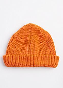 Orange Knit Rolled Beanie
