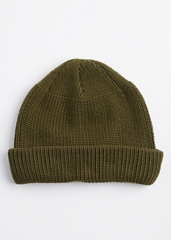 Olive Knit Rolled Beanie