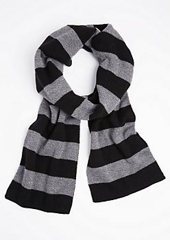 Black & Charcoal Striped Scarf