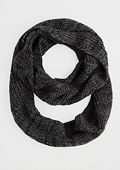 Black Marled Knit Infinity Scarf