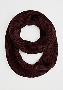 Burgundy Marled Knit Infinity Scarf