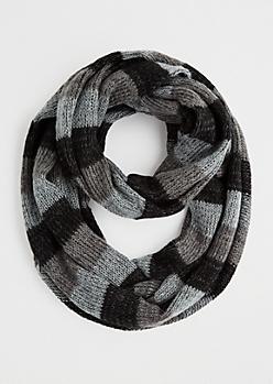 Gray Striped Knit Infinity Scarf