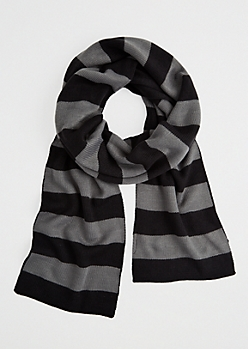 Gray Rugby Stripe Scarf