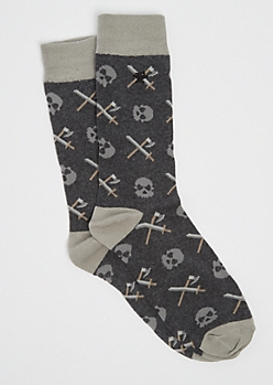 Skull & Swords Crew Socks By Stith