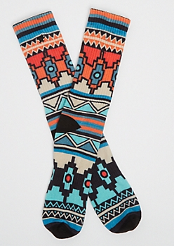 Orange Aztec Crew Socks By Stith