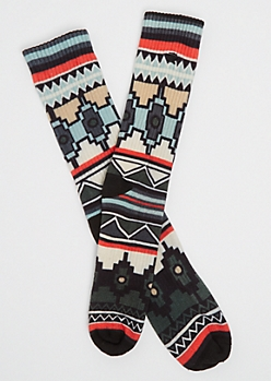Blue Aztec Crew Socks By Stith