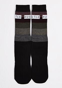 Black Striped Hustle Crew Socks