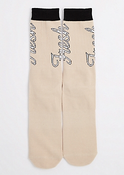 Tan Fresh Crew Socks