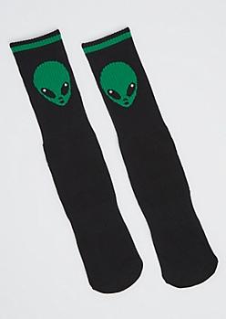 Alien Head Crew Socks