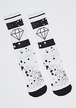 Paint Splattered Gem Crew Socks