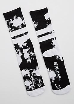 Black Paint Splattered Crew Socks