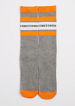 Good Vibes Striped Crew Socks