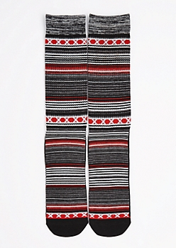 CJ Black Striped Geo Crew Socks