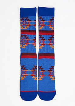 CJ Black Blue Southwest Crew Socks