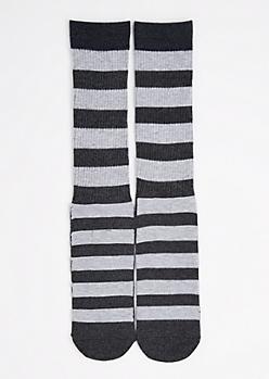 CJ Black Charcoal Striped Crew Socks