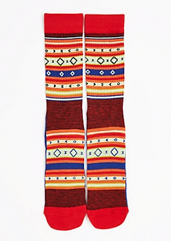 CJ Black Tribal Striped Crew Socks