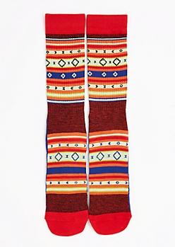 CJ Black Tribal Striped Crew Socks