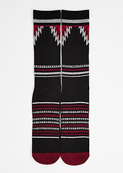 CJ Black Red Aztec Striped Crew Socks