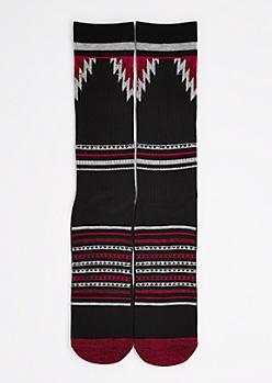 CJ Black Red Aztec Striped Crew Socks