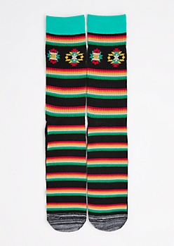 CJ Black Striped Southwest Crew Socks