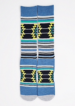 CJ Black Aztec Striped Crew Socks